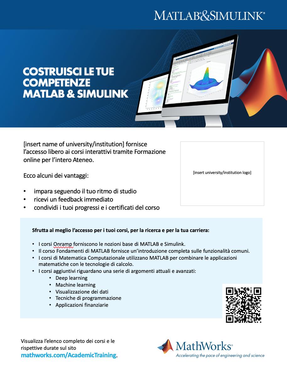 Modello poster Formazione online Campus-Wide License 8 ½ x 11
