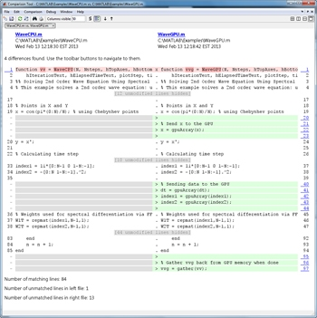 Figure 4. Serial code and code converted to run on a GPU using overloaded functions for GPUArrays.
