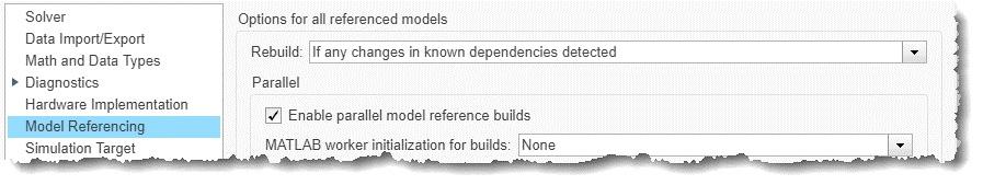 Figure 3. Model configuration parameters.