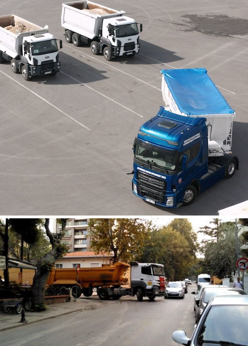 Figure 1. Truck-trailer combination on a test track representing a loading dock scenario (top) and an urban environment (bottom).