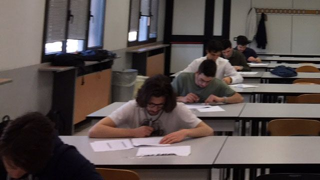 Doctoral students taking the MATLAB certification exam.