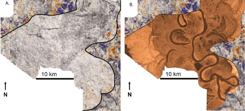 Horizontal slice through a 3D seismic data cube, and a prediction of one possible configuration for the internal geology of the reservoir target.