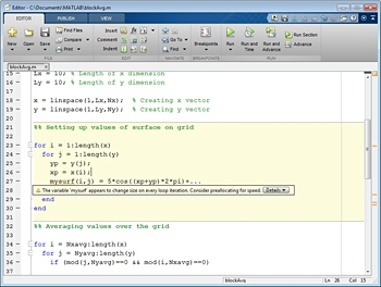 Figure 1. MATLAB Code Analyzer showing recommended code changes to improve performance.