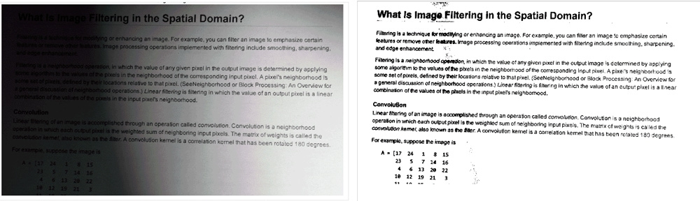 Using thresholding to convert to a binary image to improve the legibility of the text in an image.
