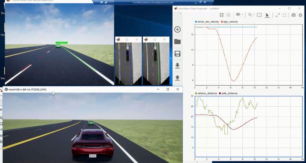 Applicazione di controllo del mantenimento della corsia mediante la percezione della fotocamera monoculare creata con MATLAB e Simulink.