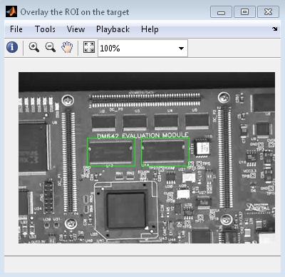 Figura 2. Utilizzo della correlazione incrociata normalizzata per il riconoscimento di chip specifici in una scheda a circuito.