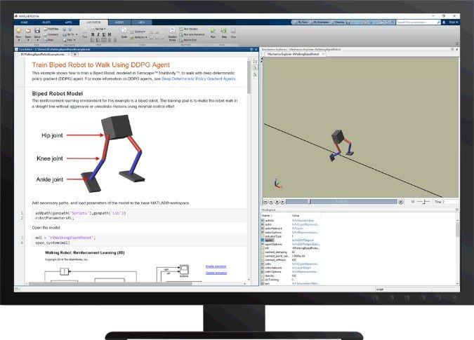 Figura 6 Insegnare a un robot bipede a camminare con Reinforcement Learning Toolbox™