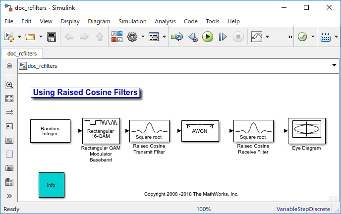 Design raised cosine filters in simulink matlab simulink corresponding receiver uses a square root raised cosine filter as a matched filter the example plots an eye diagram from the filtered received signal ccuart Gallery