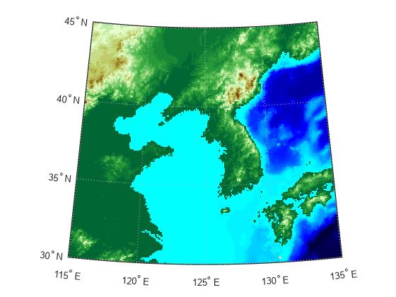 Construct map axes for given region of world matlab worldmap load korea h worldmapmap refvec seth visible off geoshowh map refvec displaytype texturemap demcmapmap gumiabroncs Choice Image