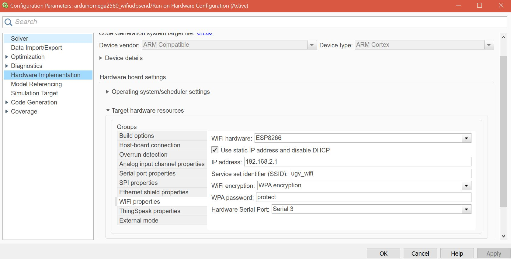 How to communicate from Matlab/Simulink to Arduino Due by Wifi using ...