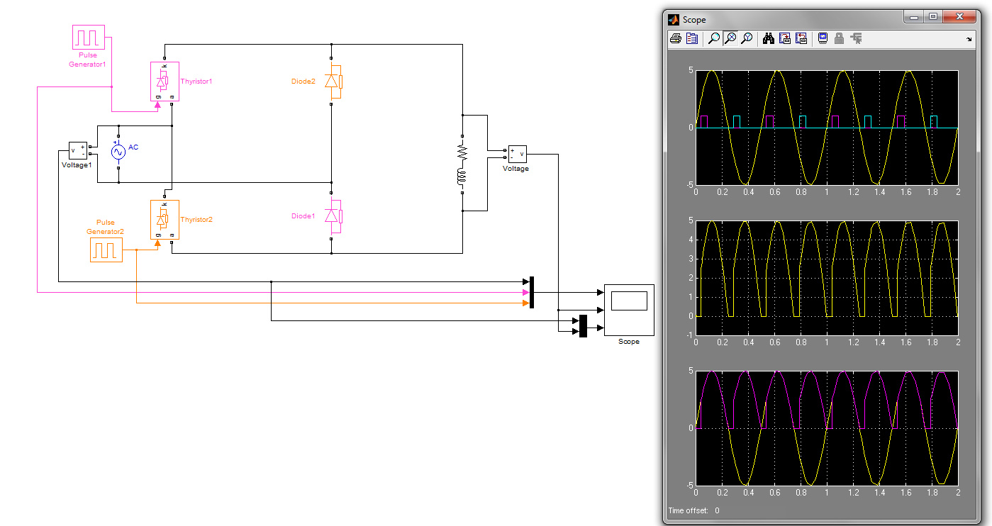 Phase Contolled Rectifierhalf Controlled File Exchange Matlab Full Wave Rectifier And Bridge Theory