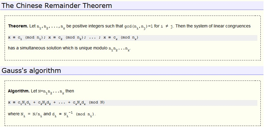 Using Gauss Algorithm To Solve Simultaneous Linear Congruences For