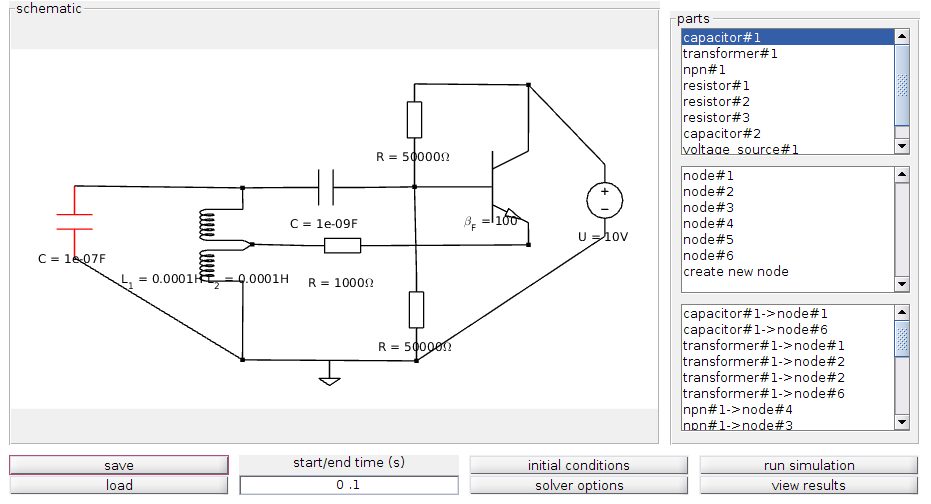 electronic circuit simulation tool