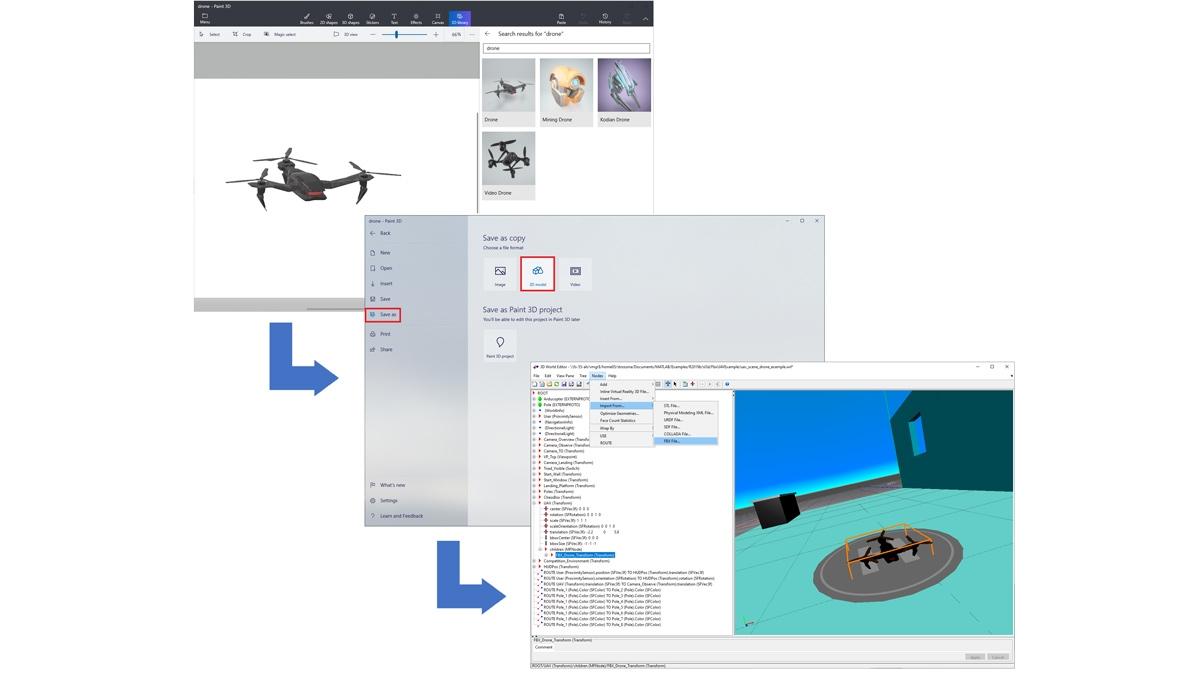Drone importato da una libreria Paint 3D, salvato come file FBX e caricato in un mondo 3D.