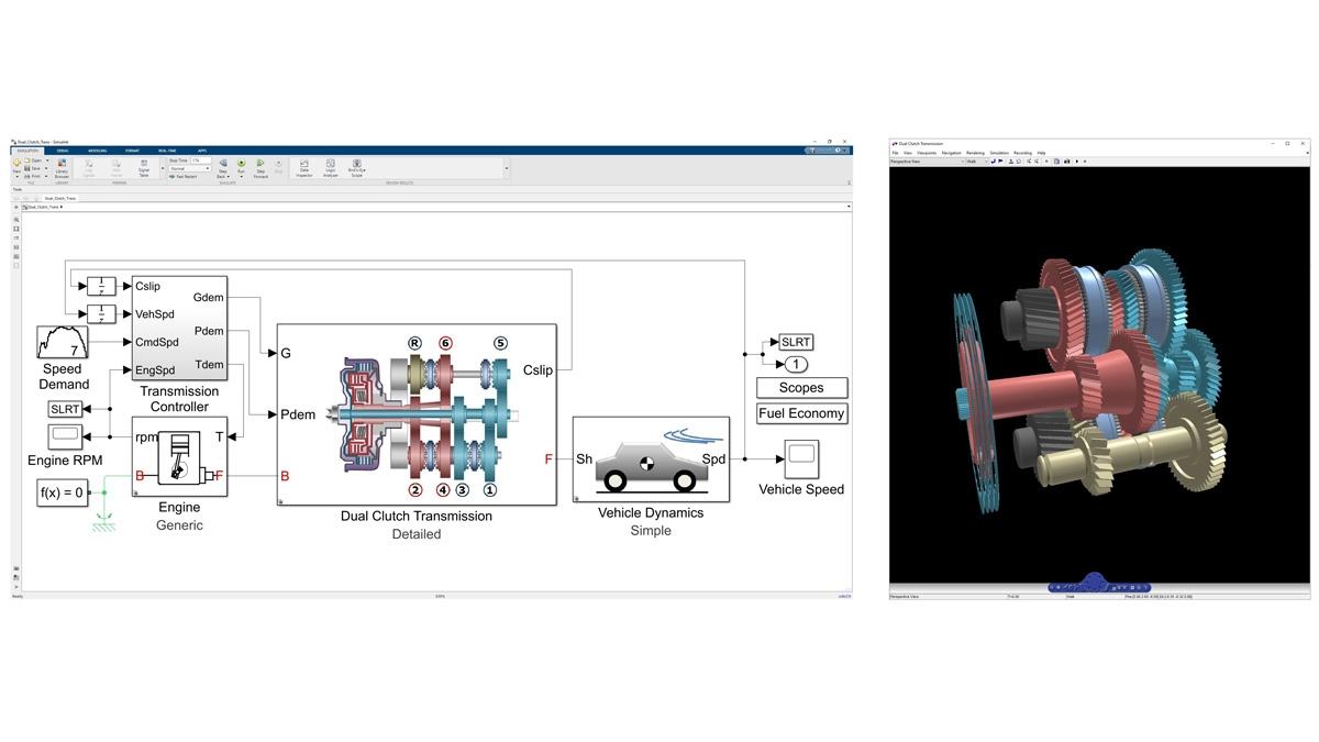 Animazione 3D della dinamica di una trasmissione a doppia frizione modellata in Simscape Driveline