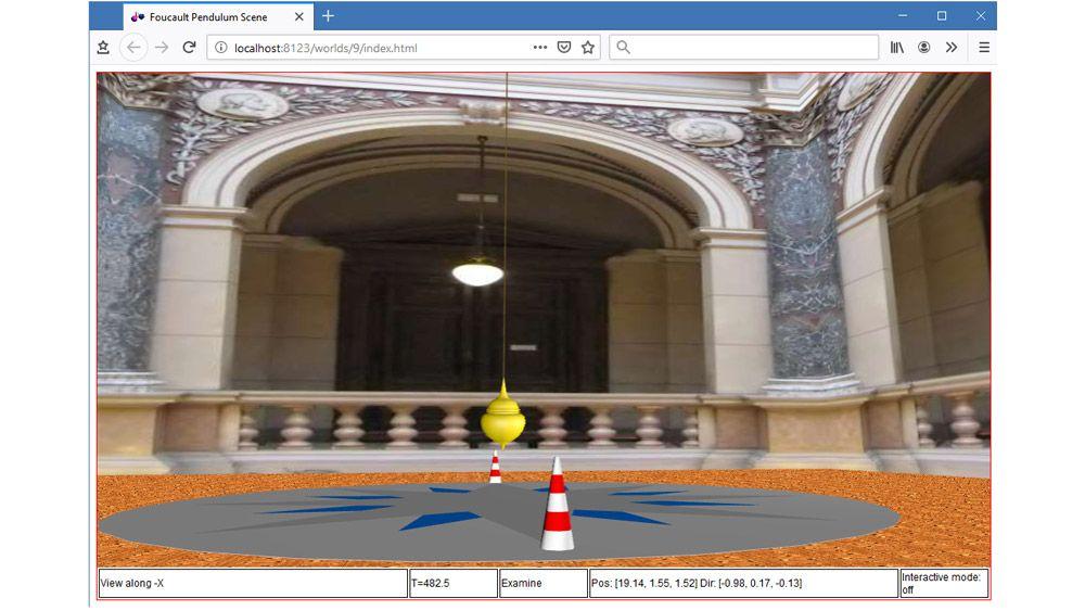 Animazione 3D di un pendolo di Foucault in un browser che supporta HTML5.
