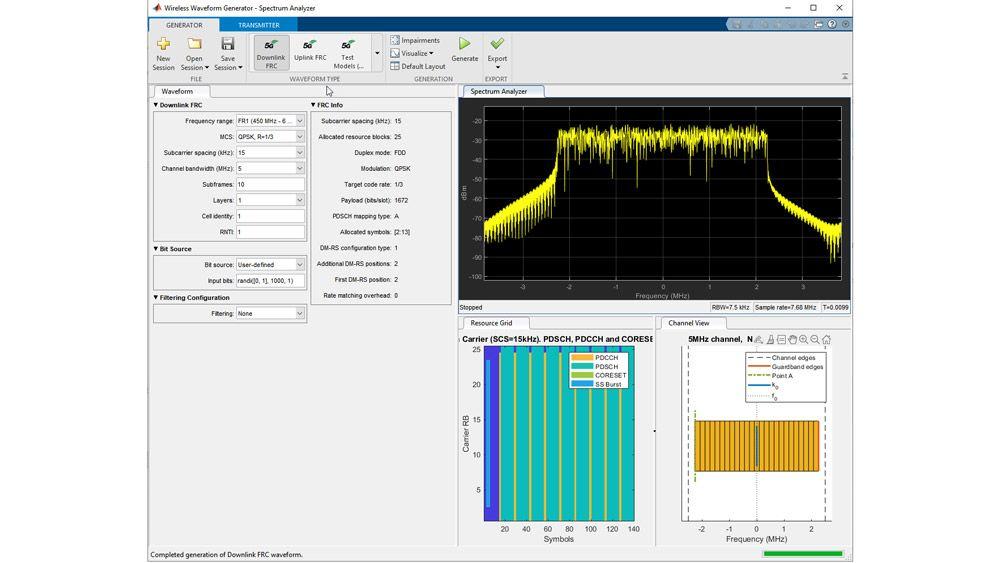 Generazione di un modello di test con l'app Wireless Waveform Generator.