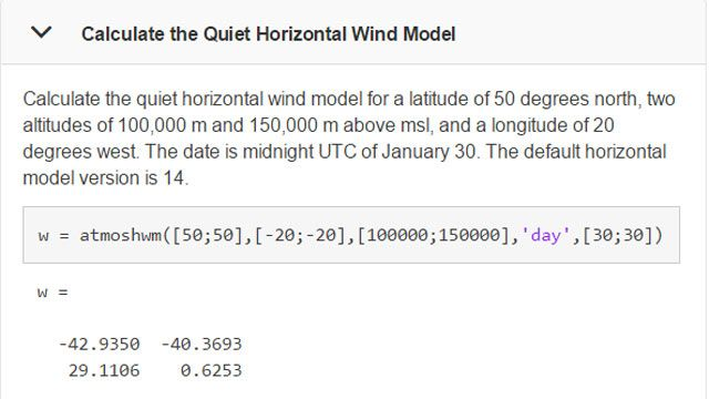 Calcolo dei modelli di vento in un momento e in un luogo specifici.