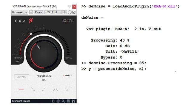 A sinistra, l'interfaccia utente di un plug-in audio commerciale per il denoising audio, caratterizzata da una grande manopola che consente di impostare il livello di soppressione del rumore. A destra, alcune righe di codice che mostrano in che modo è possibile importare lo stesso plug-in e utilizzarlo in modo programmatico come un oggetto MATLAB.