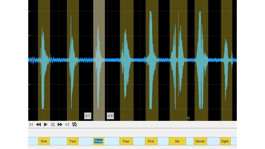 Etichette per le aree di interesse nell'app Audio Labeler.