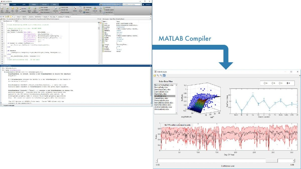 Applicazione per l'analisi solare creata in MATLAB e il cui packaging per la condivisione è stato eseguito utilizzando MATLAB Compiler.