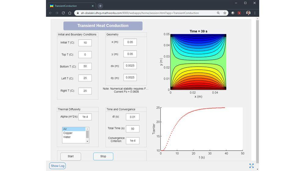App web Transient Heat Conduction sviluppata su Windows e in esecuzione su un server Linux.