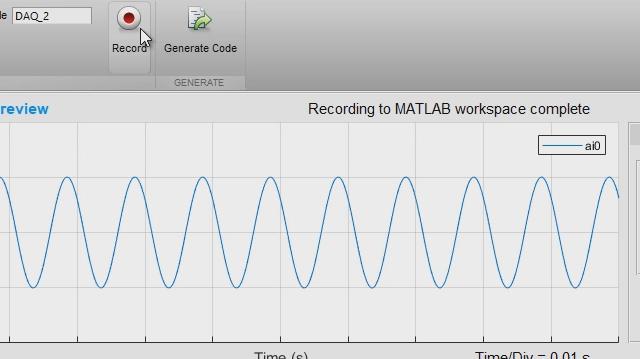 L'applicazione App Analog Input Recorder ti aiuta a iniziare velocemente a usare il Data Acquisition Toolbox. Puoi configurare una sessione in modo interattivo, acquisire dati direttamente nel workspace MATLAB e generare il codice MATLAB per automatizzare l'acquisizione in futuro.