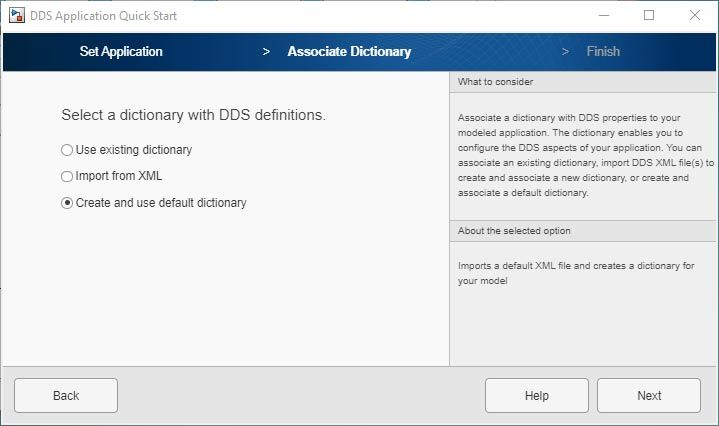 Interfaccia utente dell'app DDS Application Quick Start.
