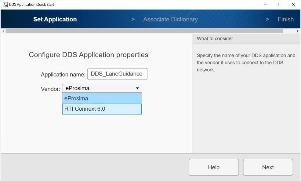 Schermata di DDS Application Quick Start che illustra le opzioni eProsima and RTI Connext per la selezione dei fornitori.