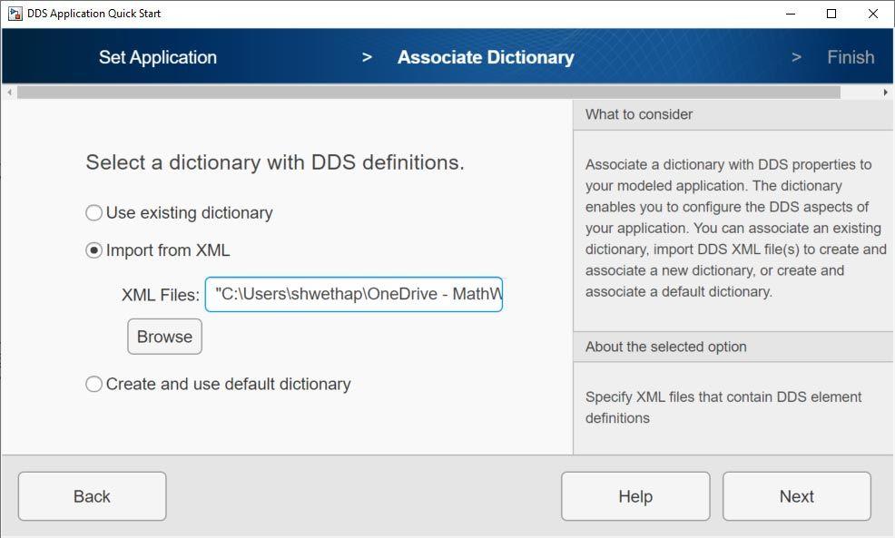 Interfaccia per l'importazione di un file XML.