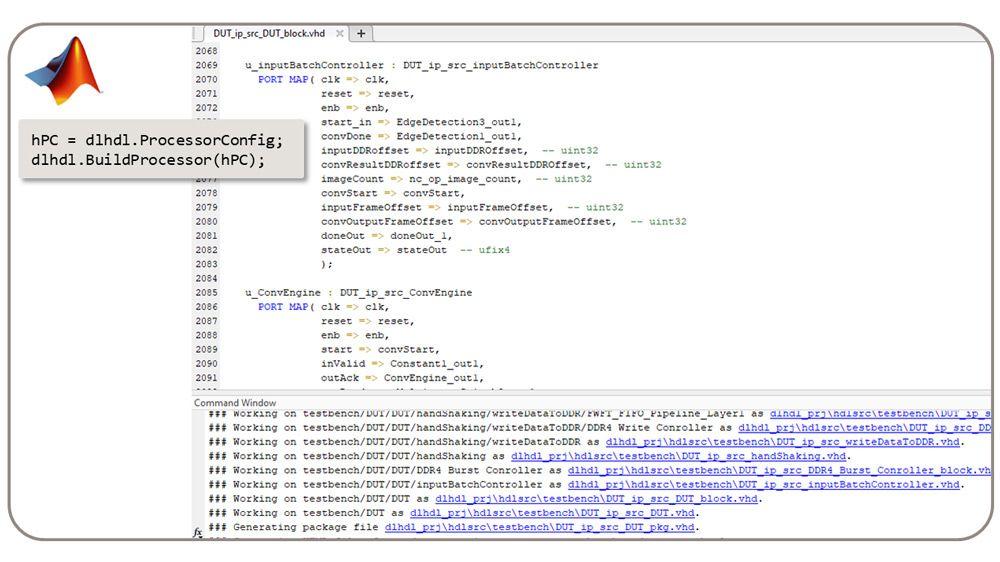 La classe dlhdl.BuildProcessor genera RTL sintetizzabile dal processore di deep learning personalizzato.