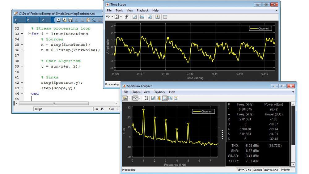 Elaborazione dei segnali in streaming in MATLAB