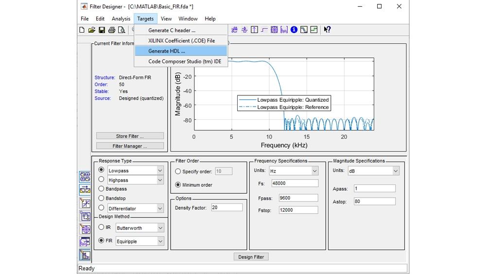 Configura e quantizza un filtro, quindi lancia l'interfaccia utente della generazione di codice HDL per generare codice VHDL o Verilog sintetizzabile.