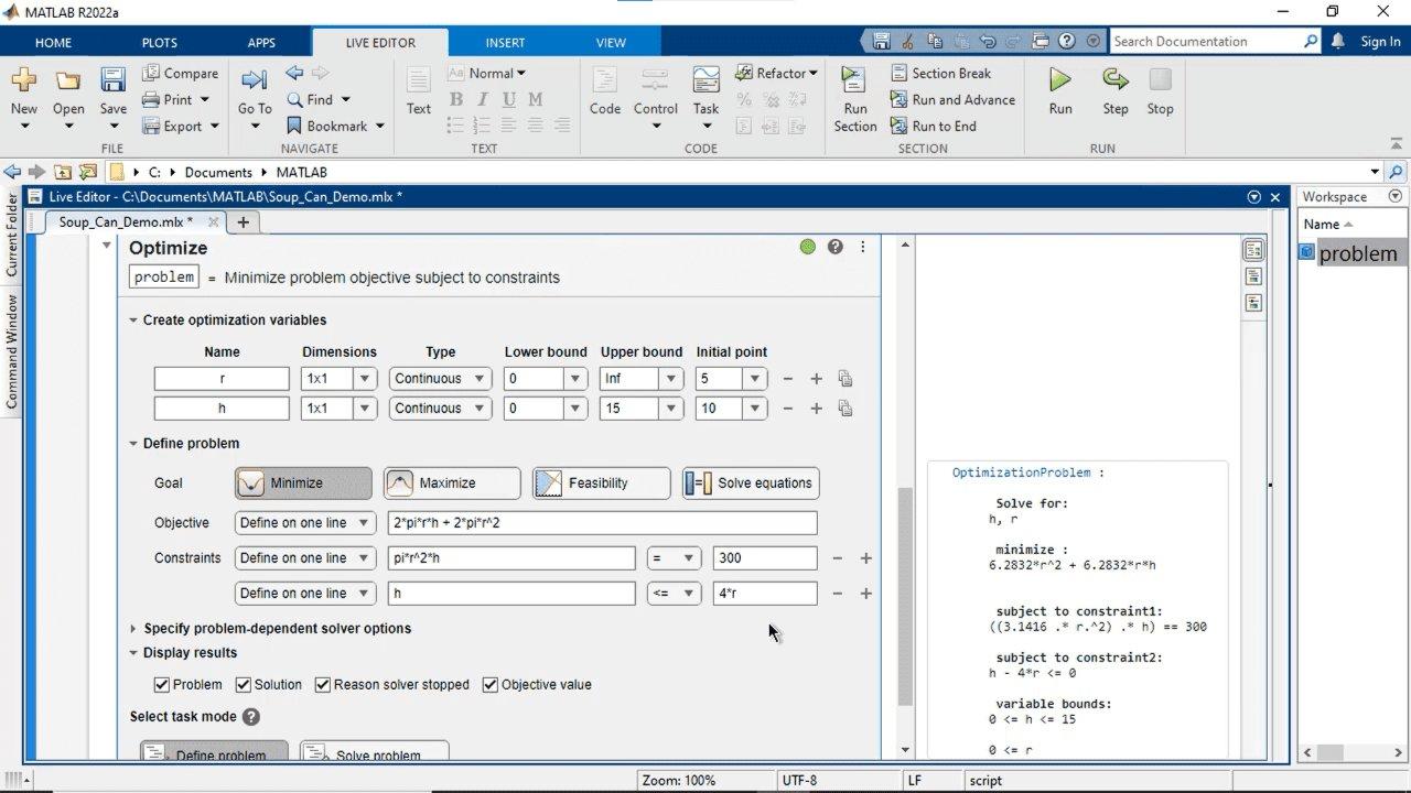 Crea e risolvi interattivamente problemi di ottimizzazione con MATLAB, Optimization Toolbox o Global Optimization Toolbox usando un'interfaccia visiva. Indica gli obiettivi e i vincoli, scegli i solutori e configura le opzioni.