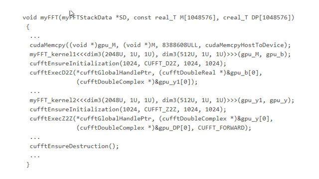 Funzioni di chiamata del codice generato nella libreria ottimizzata CUDA cuFFT.