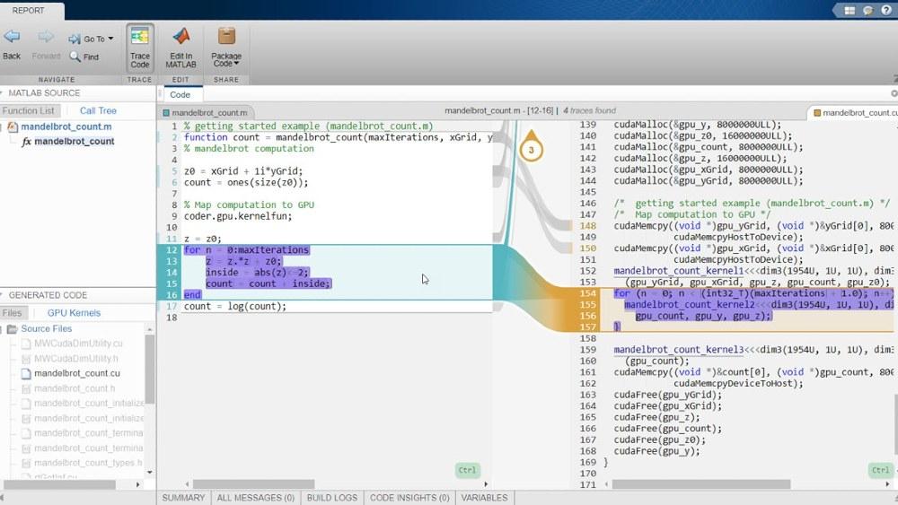 Report di tracciabilità interattiva utilizzando GPU Coder con Embedded Coder.