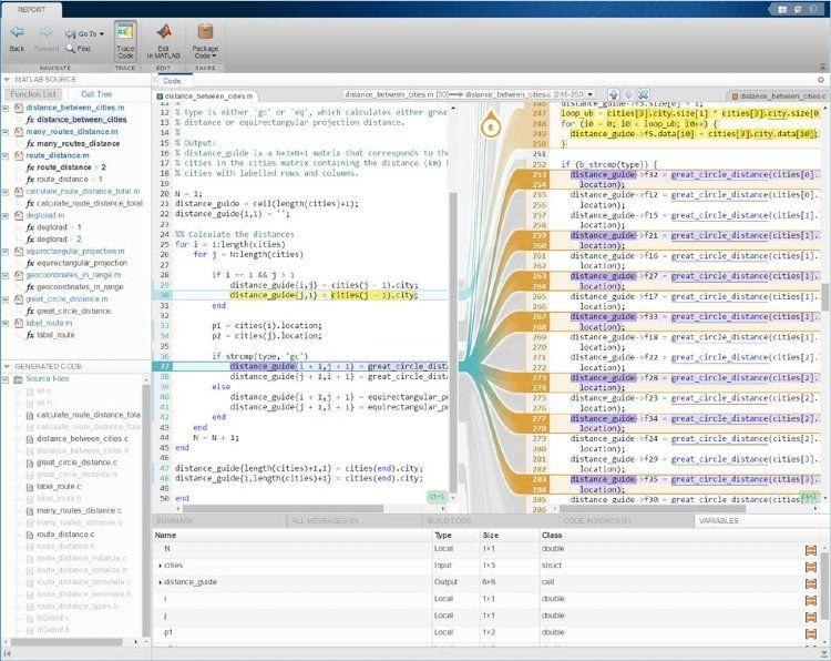Report di tracciabilità interattiva utilizzando MATLAB Coder con Embedded Coder.