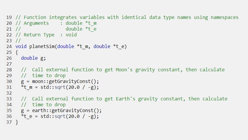 Codice generato che integra variabili con nomi di tipi di dati identici usando dei namespace.