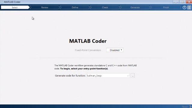 Genera codice C e C++ dal codice MATLAB con MATLAB Coder.