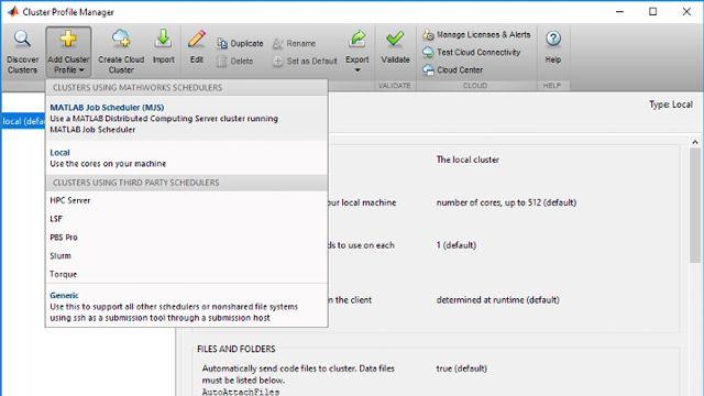 Aggiunta di profili di cluster a MATLAB per consentire l'accesso alle risorse di cluster disponibili.