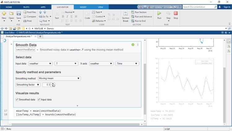 Le attività di Live Editor sono app integrabili in un live script che ti consentono di esplorare interattivamente parametri e opzioni, vedere immediatamente i risultati e generare automaticamente il codice MATLAB corrispondente all'attività completata.