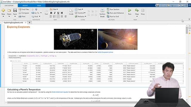 Dimostrazione live delle funzionalità di Live Editor, compresa la creazione di un notebook, la condivisione del lavoro con altri utenti e la scrittura di codice rapida.
