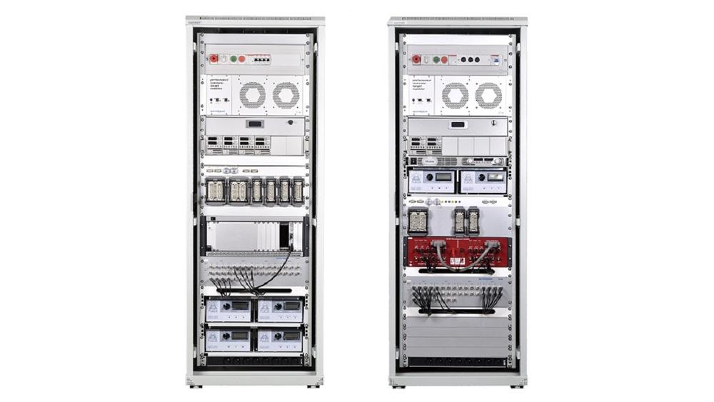 Configurazione di un rack Speedgoat completo. Questa configurazione è stata utilizzata per automatizzare i test dei controller di un trattore usando test bench hardware-in-the-loop.
