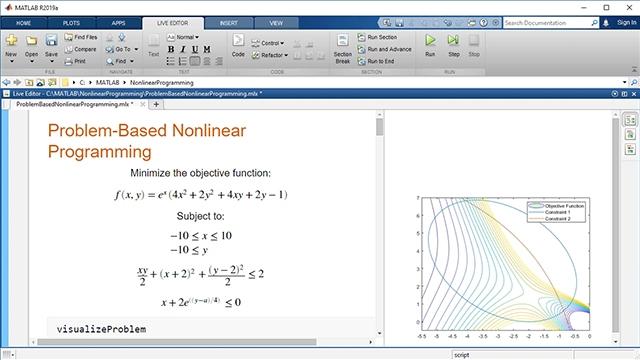 Esprimi e risolvi un problema di ottimizzazione non lineare con l'approccio basato sui problemi di Optimization Toolbox. Utilizza funzioni non lineari sia nei vincoli sia nelle funzioni obiettivo. Risolvi tramite un solver selezionato automaticamente.