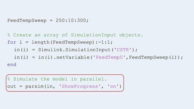 Uso della funzione parsim per eseguire più simulazioni in parallelo.