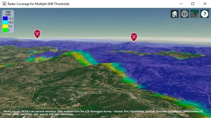 Mappa basata sul terreno che mostra l'area di copertura combinata di bersagli per due sistemi radar.