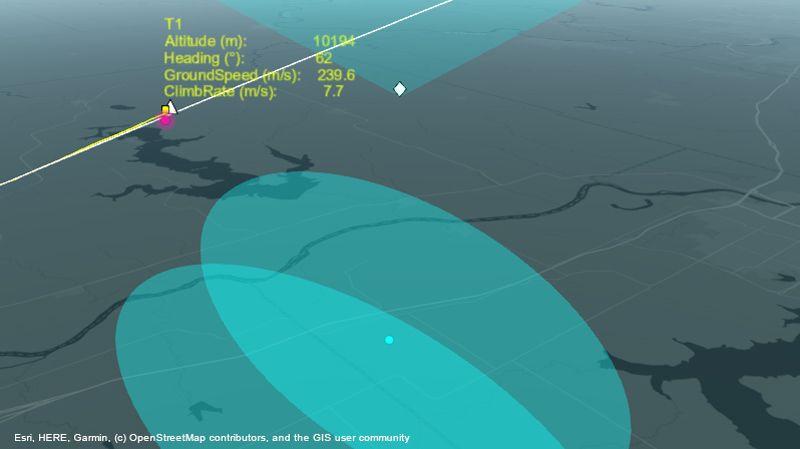 Sistema radar che esegue il tracking di un aeromobile lungo la rotta.
