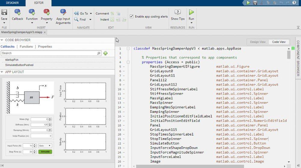 Utilizzo di App Designer per progettare un'interfaccia utente grafica dell'app di simulazione