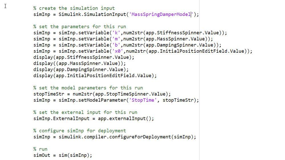 Utilizzo dell'oggetto SimulationInput per definire input e parametri di simulazione.