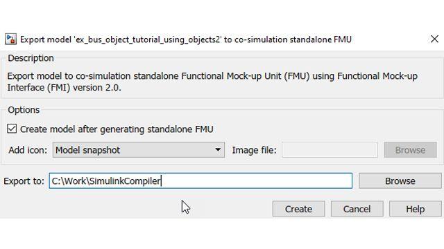 Opzione per riportare automaticamente la FMU creata in Simulink dopo la creazione.